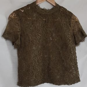 ZARA trafaluc olive green embroidery top size s